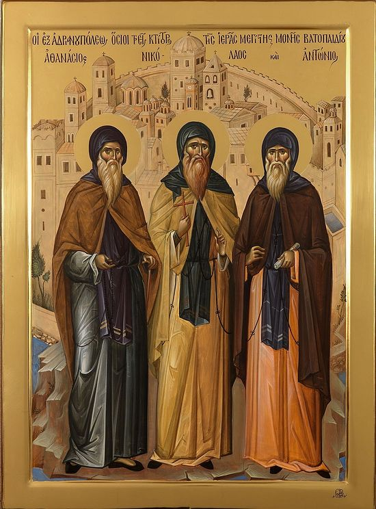 Contemporary icon of Sts. Athanasios, Nicholas and Anthony the Venerable Founders of Vatopedi Monastery, painted by Fathers of Vatopedi