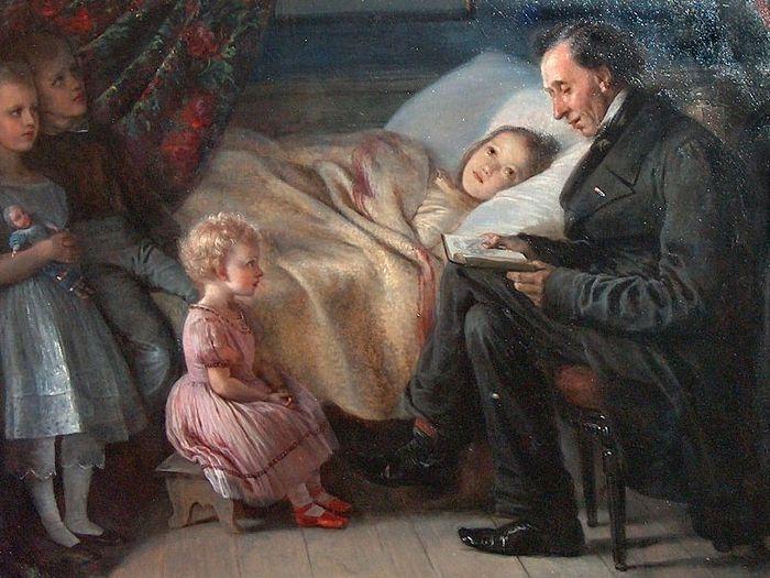 Ганс-Христиан Андерсен читает детям сказки. Художник: Элизабет Анна-Мария Джерихау-Бауманн, 1862 г.