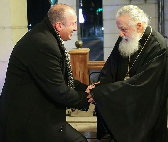 President Giorgi Margvelashvili and Patriarch Ilia II. Photo by the Administration of the President of Georgia.