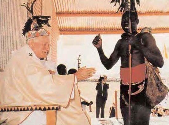 Папа Иоанн-Павел II и языческий жрец