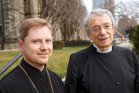 The Revd Father Geoffrey Ready (left) and the Revd Canon David Neelands outside Trinity College, Toronto