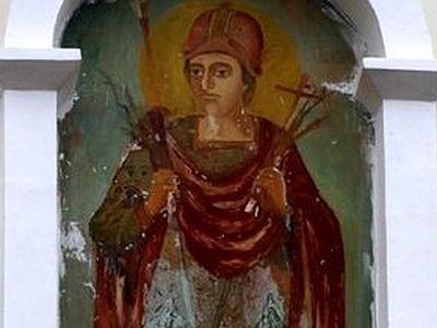 Молдова: в монастыре Куркь постоянно обновляется фреска с образом вмч. Димитрия