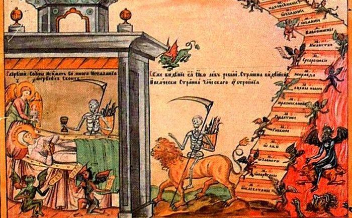 Мытарства Феодоры. Фрагмент иконы