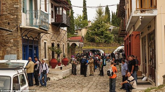 Pilgrims have arrived at Karyes. From here, they will travel on minibuses to various monasteries.