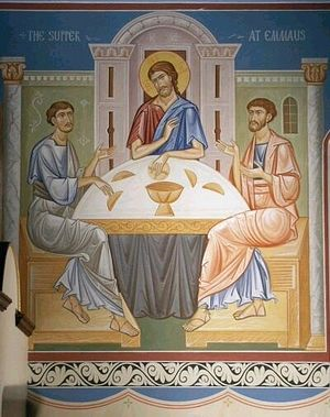The meal at Emmaus, Christ, the Apostles Luke and Cleopas