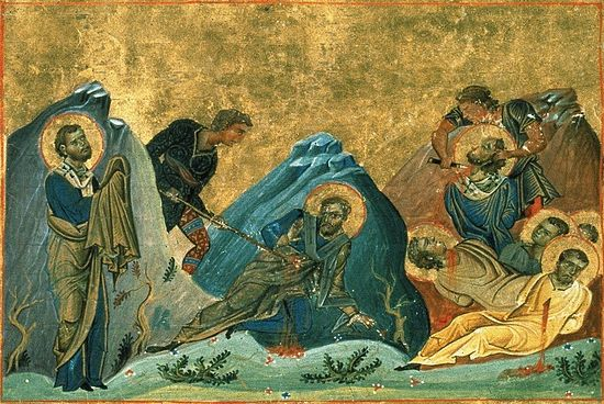 Apostles Stachys, Amplias, Urban. Miniature of the menologion of Basil II. Constantinpole, 985. Vatican Library. Rome.