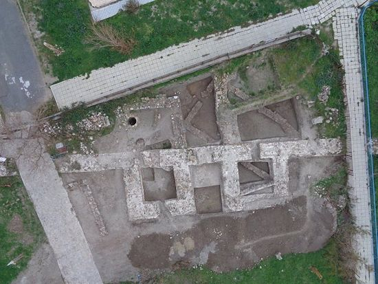 An aerial photo of the newly discovered northern gate of the Late Antiquity fortress of Agathopolis in Bulgaria's Ahtopol on the Black Sea with its two towers. Photo: Tsarevo Municipality Facebook Page