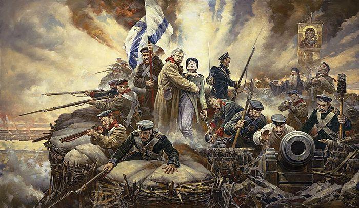 """Defend Sevastopol"" by Vasilii Nesterenko, 2005, marks the 150th anniversary of the city's defense."