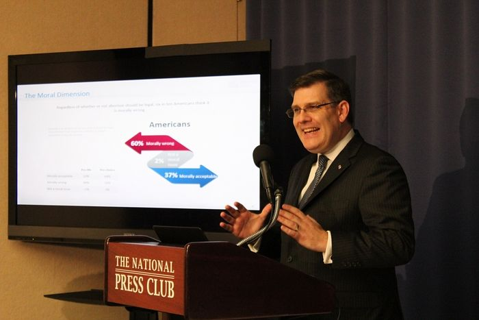 "Andrew Walther, Knights of Columbus vice president of communications and strategic planning, speaks at a press conference at the National Press Club in Washington, D.C. to introduce the Marist Poll's 2016 ""Abortion in America"" survey on Jan. 19, 2016."