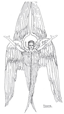 Princess Ileana's religious convictions came true in this pen and ink drawing of an angel, whose wings soar towards heaven as did her faith.