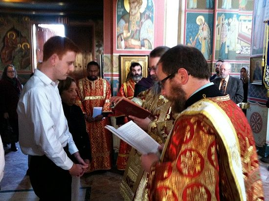 Ryan Hunter being received into the Orthodox Church