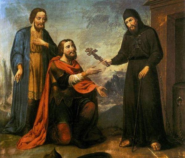 Преподобный Иринарх благословляет князя Пожарского