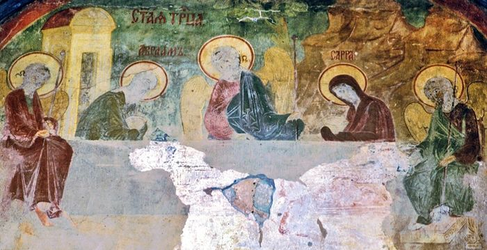 St. Sophia Cathedral, west facade, central bay, fresco of Old Testament Trinity