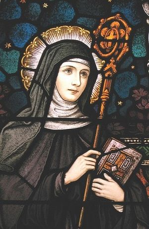 St. Gertrude of Nivelles, a stained glass