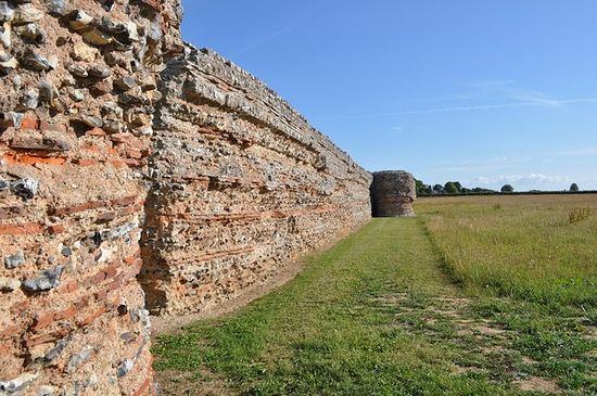 Walls of Roman fort in Burgh Castle, Norfolk