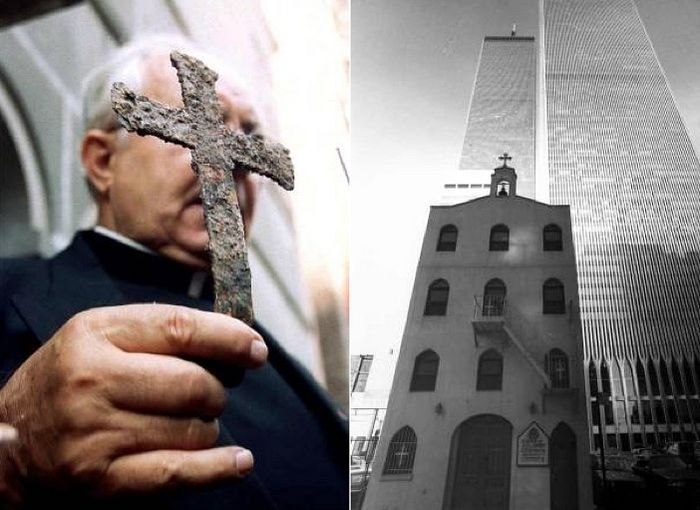The Rev. John D. Romas, center, holding an icon of St. Nicholas in December 2001 at a ceremony at ground zero in Lower Manhattan memorializing St. Nicholas Greek Orthodox Church, which was destroyed on Sept. 11. Credit James Estrin/The New York Times