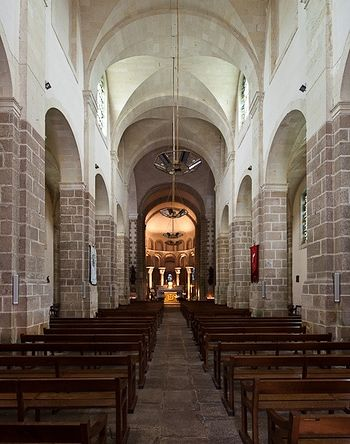 Inside the old Abbey Church of St. Gildas in Saint-Gildas-de-Rhuys, Brittany
