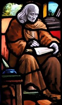 A stained glass of St. Gildas