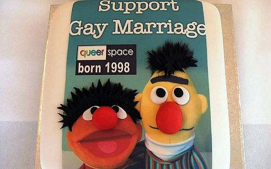 A picture of the cake which Gareth Lee had asked the couple to bake. This one was made by abother bakery