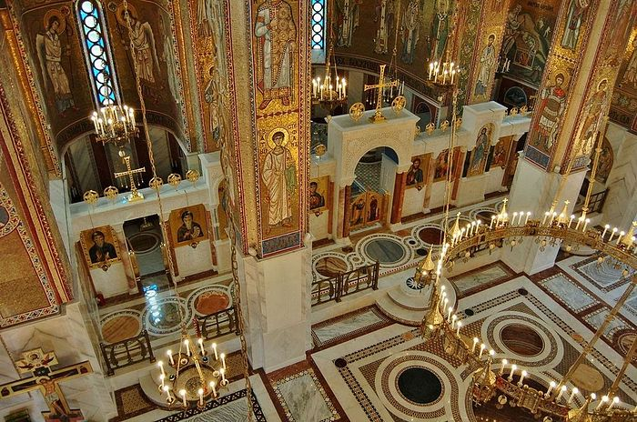 The splendid marble floor and iconostasis.