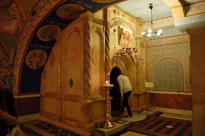 A replica of the Tomb of Christ from the Church of the Holy Sepulchre.