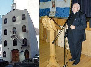 """Rev. John Romas was the pastor of St. Nicholas Greek Orthodox Church on 155 Cedar Street in Lower Manhattan for 30 years. His small church was completely destroyed on Sept. 11, 2001 when the South Tower collapsed. """"I was crying like a baby,"""" Father Romas is quoted to have said at the time."""