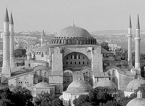 Hagia Sophia, the Church of the Holy Wisdom, present day, surrounded by minarets.