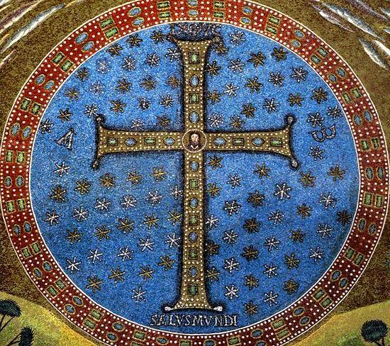 Крест с образом Христа в центре. Мозаика. VI век. Италия. Равенна. Базилика Сант-Аполлинаре ин Классе