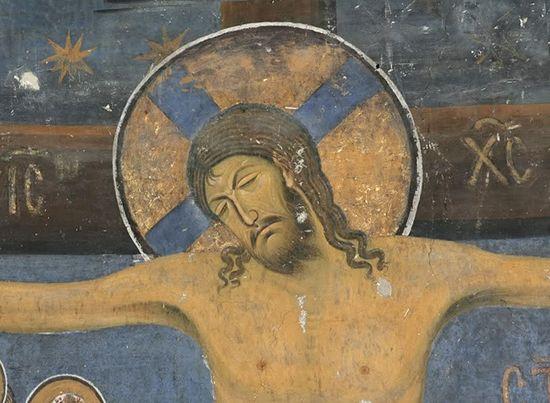 Фреска. Распятие. Фрагмент. Сербия. 1209 год. Студенецкий монастырь