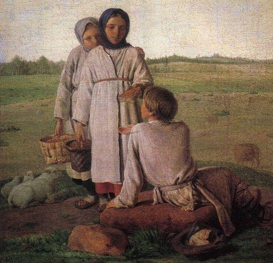 A. Venetsianov. Peasant children in a field. 1810