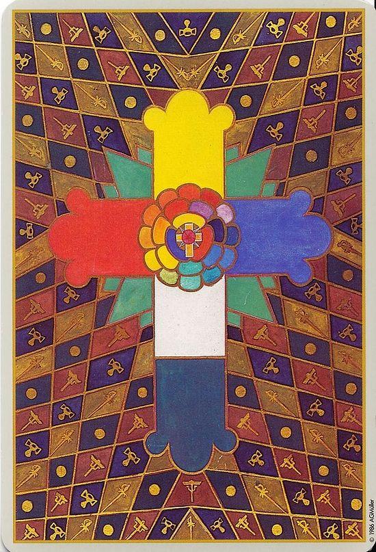 Ружа и крст «Златне зоре» - приказ на полеђини тарот-карте Тома, које је смислио сатаниста Алистер Кроули