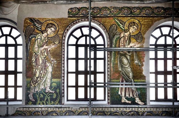 Renovated mosaics and windows in the Church of the Nativity, in the West Bank city of Bethlehem on February 4, 2016. (AP Photo/Nasser Nasser)