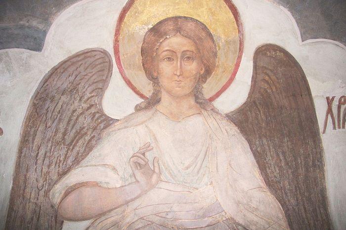 Ангел-Хранитель. Фрагмент фрески Успенского собора Троице-Сергиевой лавры