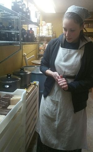 Anne, a convert to Orthodoxy from Nova Scotia, runs the soap making workshop full-time. She was a professional soap maker in Canada.