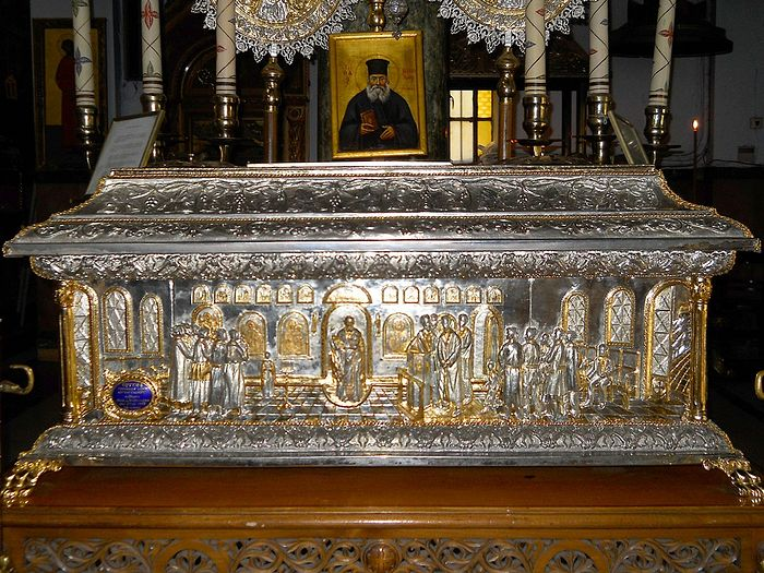 The relics of St. Nicholas Planas in the St. John the Hunter church in Athens, Greece