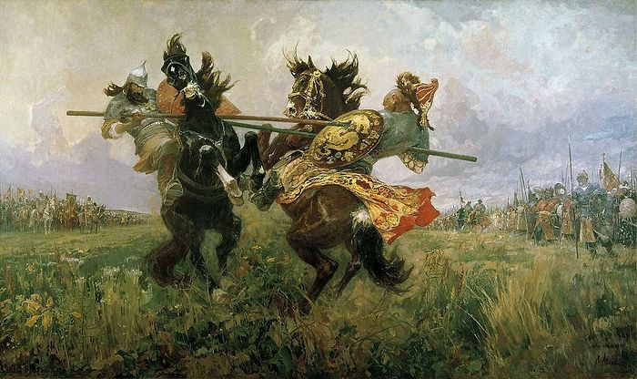Авилов. Поединок Пересвета с Челубеем на Куликовом поле. 1943 г.