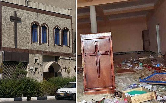 Left: The Assemblies of God Assyrian church in Tehran, Iran. The church was illegally confiscated two years ago by the regime, which now wants to convert it into a mosque. Right: On January 7, vandals damaged, robbed, and wrote jihadi slogans on the Light Church in Tizi-Ouzou, Algeria.