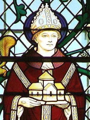A stained glass image of St. Oswald of Worcester