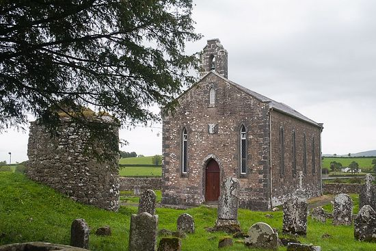 The modern St. Kieran's Church on the site of his Saighir Monastery, Offaly, Ireland