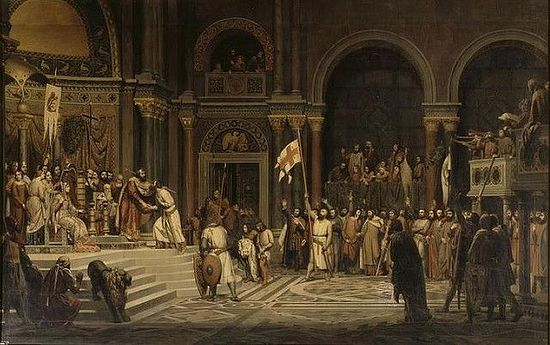 Godfrey of Bouillon before the Byzantine emperor Alexius Comnenus in Constantinople, 1097. Painting by Alexandre Hesse