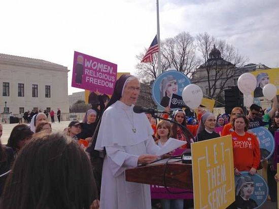 Mother Assumpta, superior of the Dominicans, Mary Mother of the Eucharist in Ann Arbor, MI, speaks at the rally outside the Supreme Court.