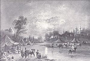 «Река Барада в Дамаске». Гравюра начала XIX века В.Х. Барлетта
