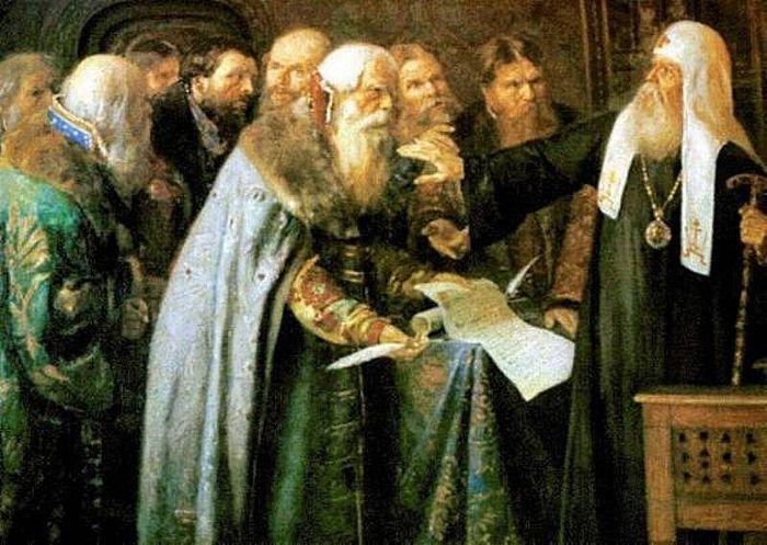 Патриарх Иов отказывается признать в Лжедмитрии I сына Ивана IV. Художник: Петр Геллер