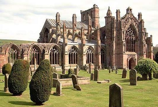 Melrose Abbey ruins, Scottish Borders (taken from Wikimapia)