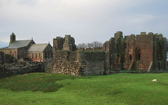 Priory ruins and St. Mary's Church on Lindisfarne