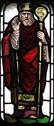 St. Boisil of Melrose (a stained glass)