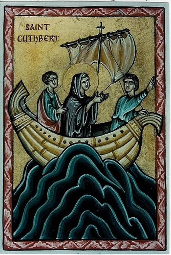 St. Cuthbert in a boat (by Aidan Hart)