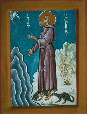 St. Cuthbert with otters (by Aidan Hart)