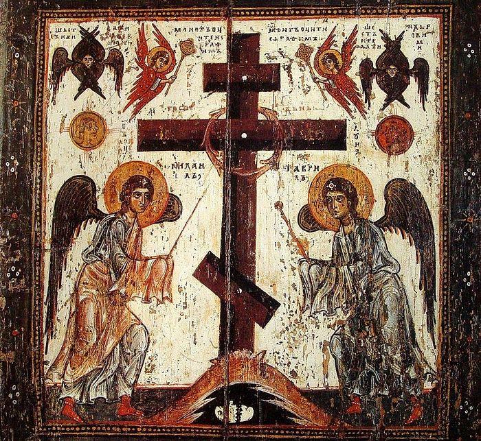 Поклонение Кресту. Оборотная сторона иконы «Спас нерукотворный». XII век