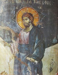 Christ appearing to the Disciples on a mountain in Galilee (detail). Church of the Protaton, Mt. Athos.